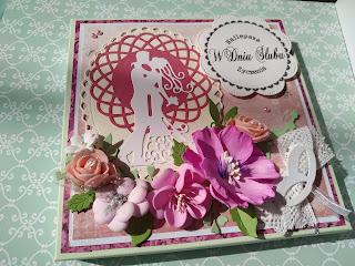 Kartka i pudełko na ślub w tonacji wielu róży