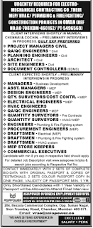 Electro mechanical contracting company jobs in Oman