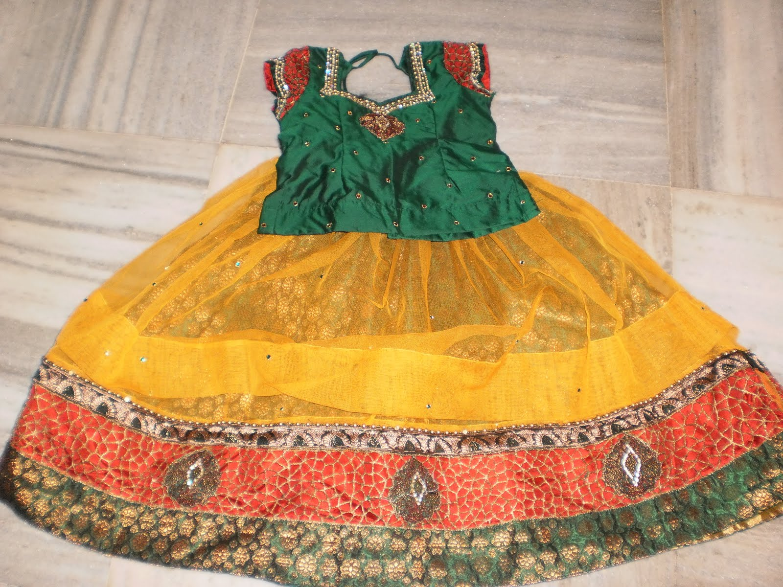 61f143db416ea Exclusive langa blouse designs for kids sparkling fashion JPG 1600x1200  Latest pattu langa designs