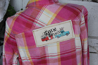 distressed pink flannel shirt