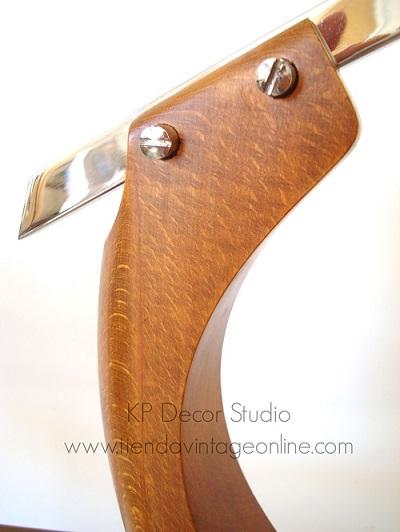 lampara fase modelo presidente brazo cromado y madera cable nuevo restaurada