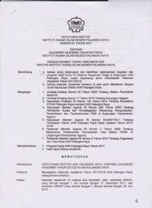 Kalender Akademik Tahun 2017/2018 IAIN Palangka Raya