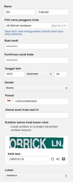 Form lengkap untuk membuat email baru gmail