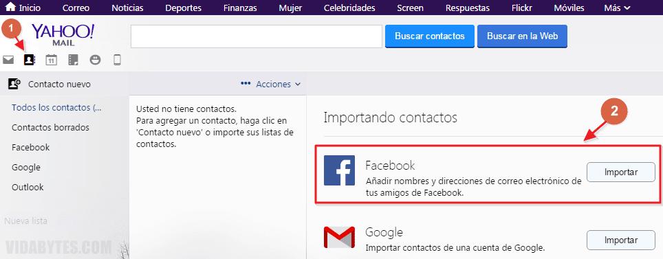 Importar emails de Facebook