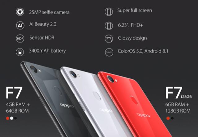 Tampilan OPPO F7 Diluncurkan dengan Membawa Kamera Selfie 25MP  FHD + Display 6,23 inci 7