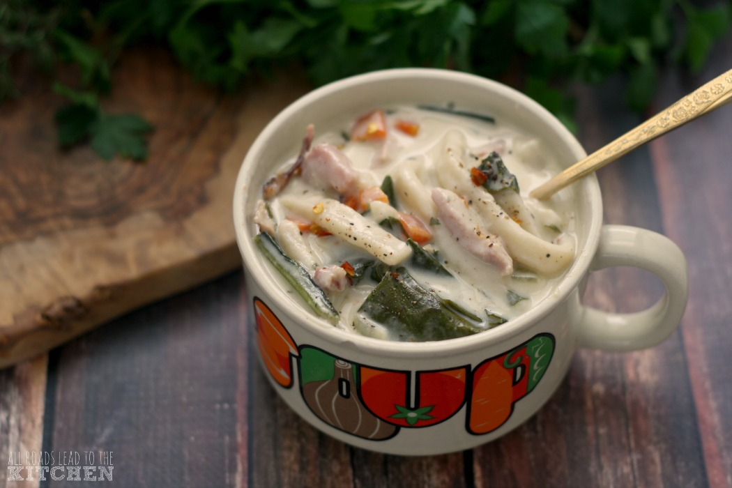 Creamy Ham and Greens Noodle Soup | #Reames