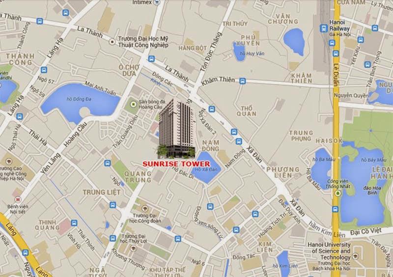 Vị trí chung cư Sunrise Tower - 187 Tây Sơn