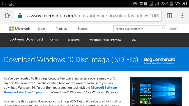 Laman download windows 10 iso di hp jonarendra