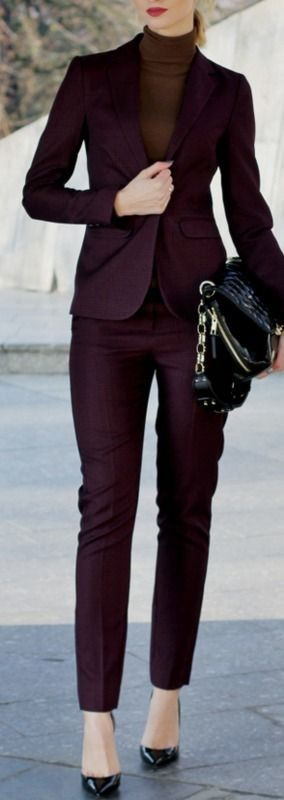 maroon suit + bag + heels + top