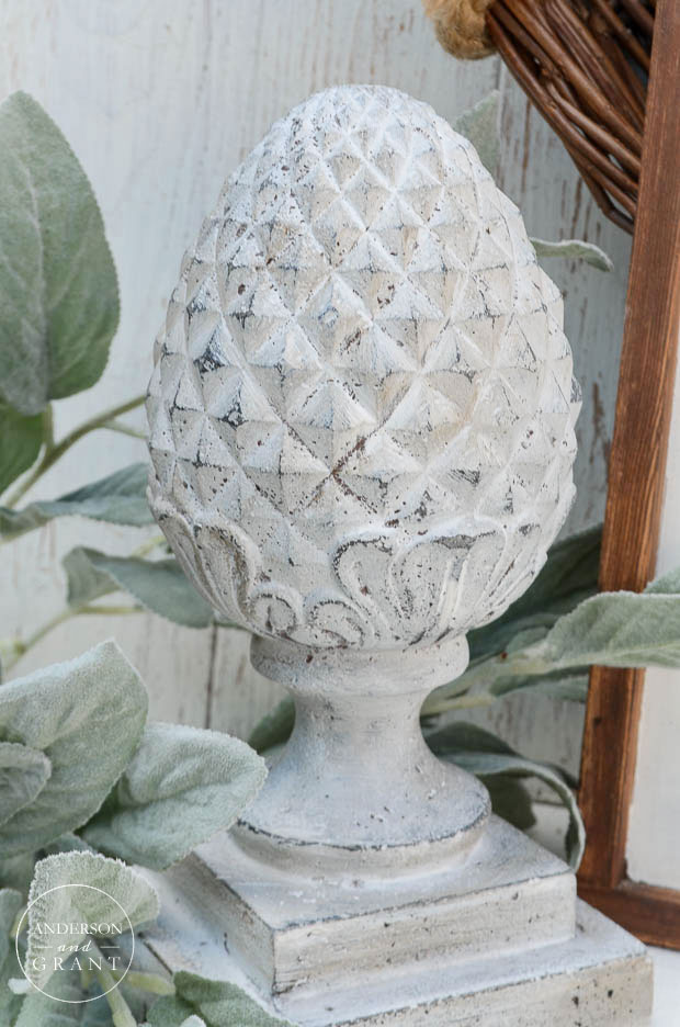 Cement finial painted in Miss Mustard Seed's Milk Paint  ||  www.andersonandgrant.com