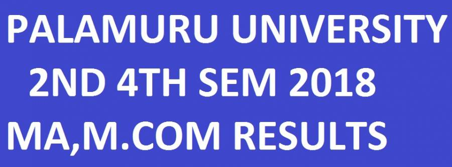 Palamuru University PG 2nd/4th Sem Results