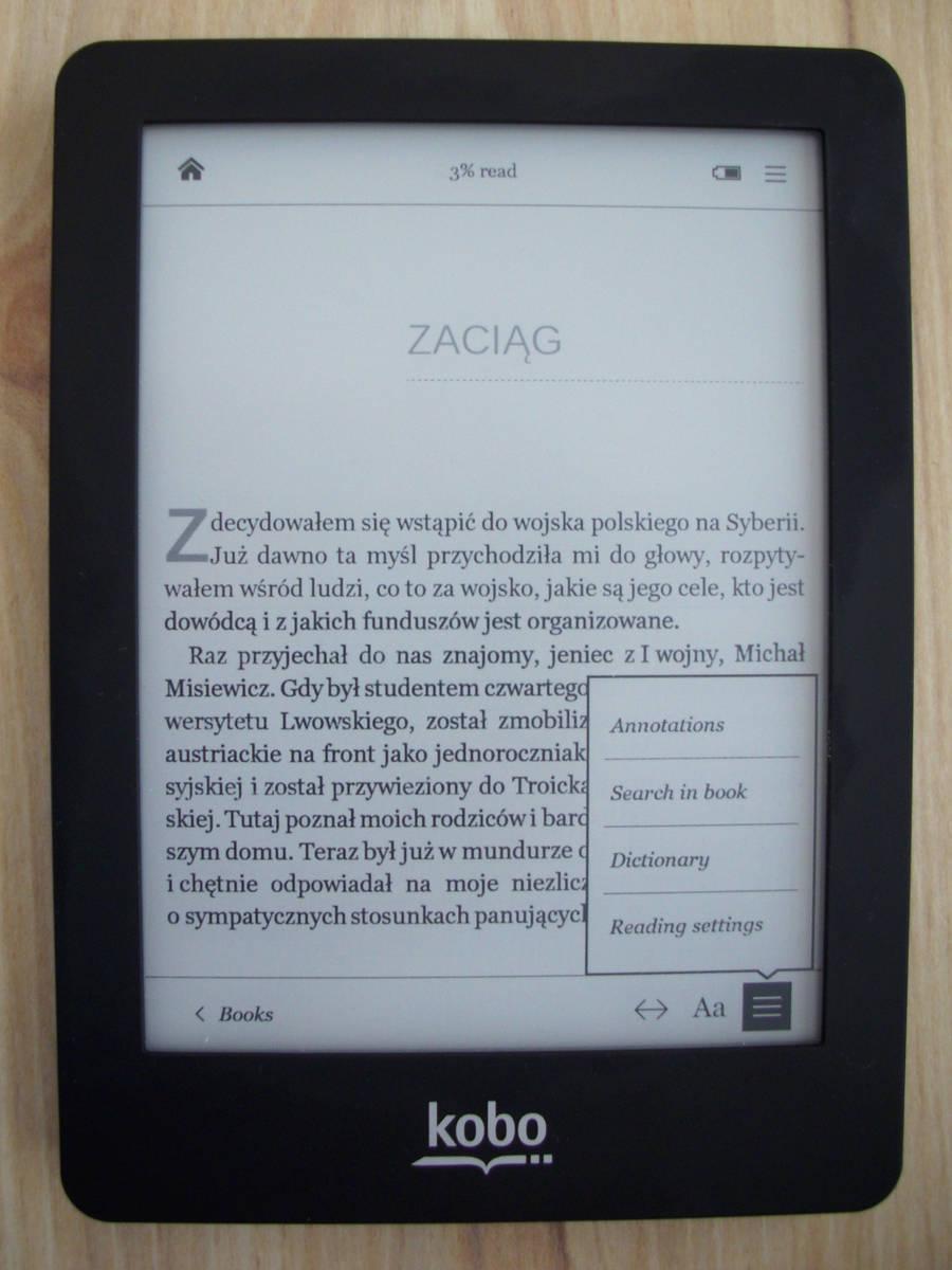Kobo Glo - ustawienia z poziomu ebooka