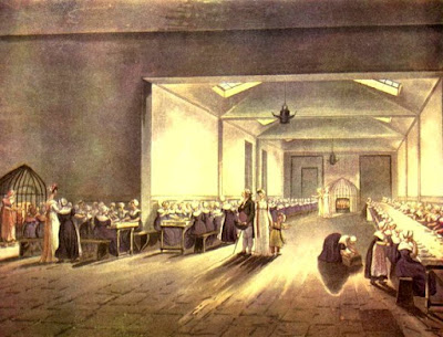 The Dining Room at the Asylum  from Ackermann's The Microcosm of London (1808-10)