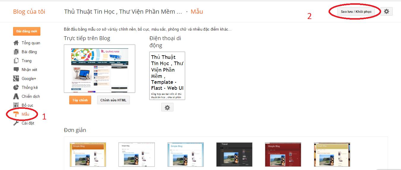 huong dan thay doi template cho blogspot