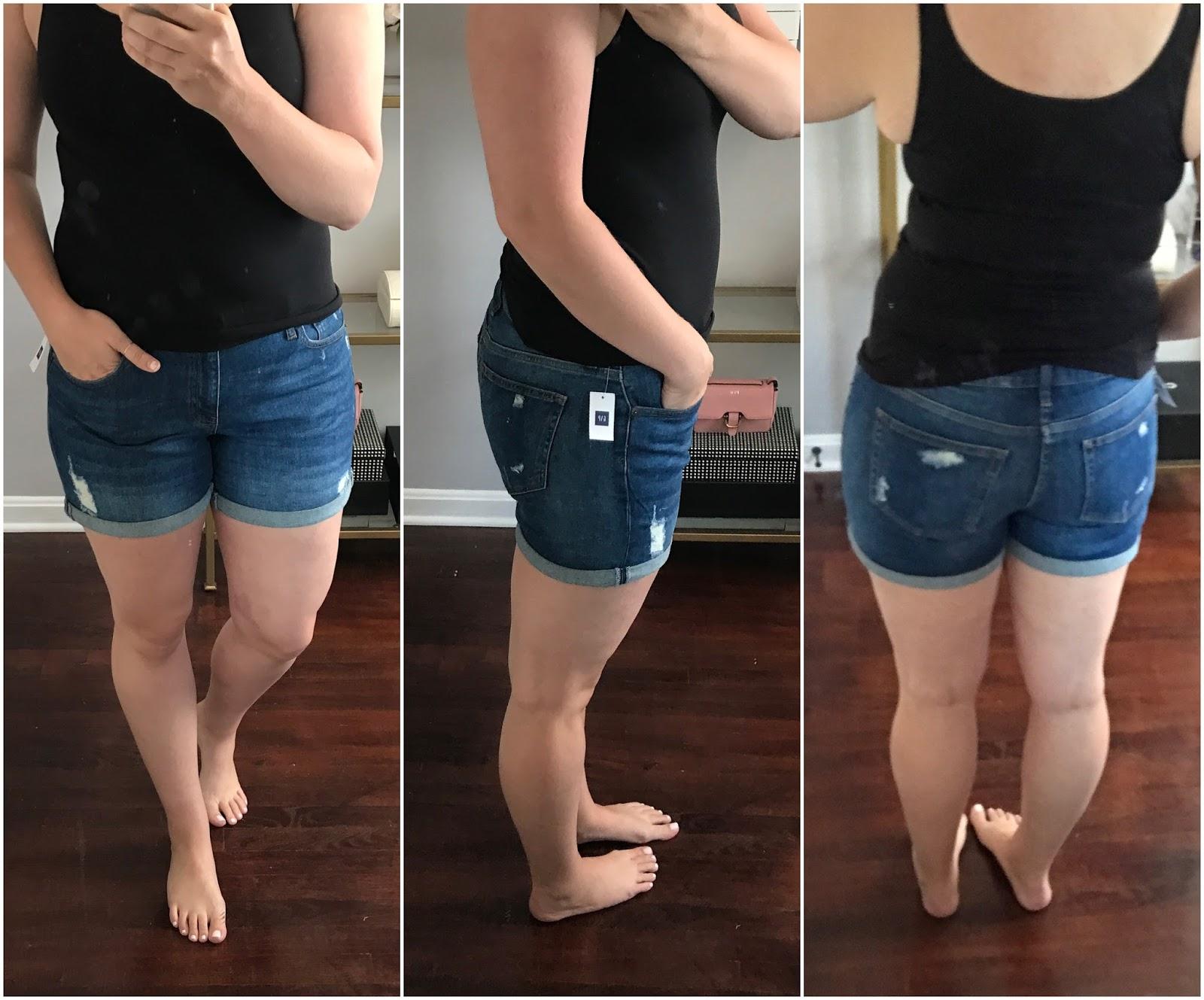 Denim roll shorts