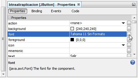 """Puntero del mouse sobre el botón de la propiedad """"font"""""""