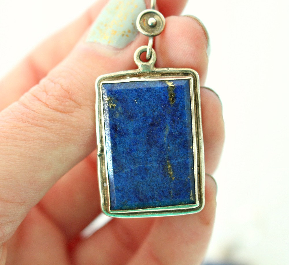 Vintage Lapis Lazuli Sterling Silver Large Drop Earrings // Minden Shop on Etsy