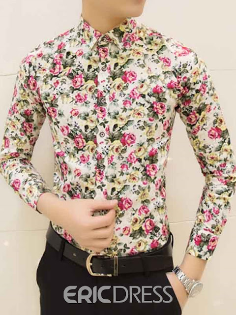 Long Sleeve Floral Print Slim Men's Shirt