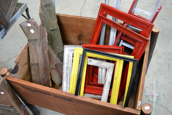 Colorful vintage picture frames at the flea market