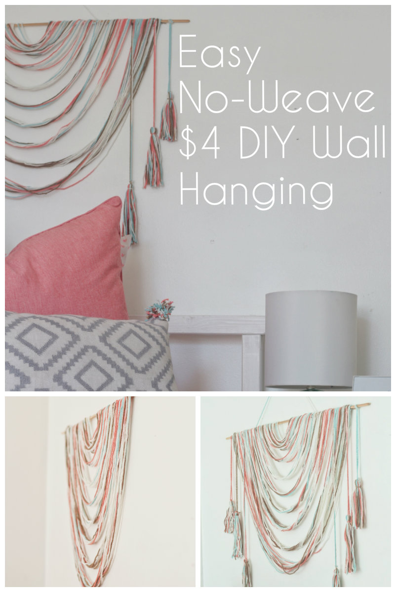 Easy no weave diy wall hanging for less than 4 made by - How to hang wall art ...