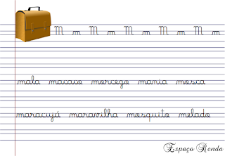 caderno de caligrafia letra M