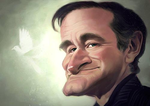 """Caricatura de """"Robin Williams"""" + video del proceso por Noppera Bosri"""