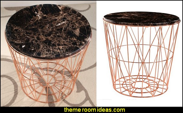 Abbyson Living Otis Marble and Stainless Steel End Table in Rose Gold