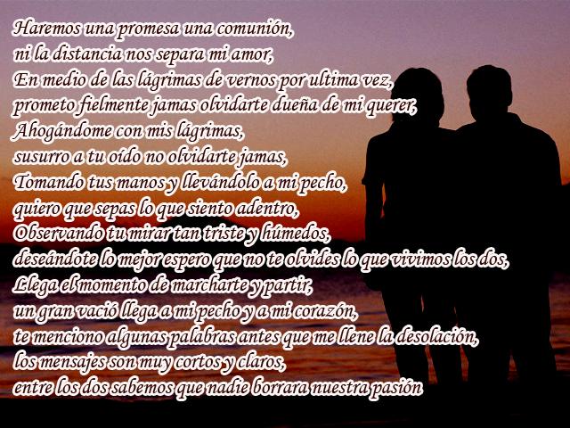 Haremos una promesa una comunión, ni la distancia nos separa mi amor, En medio de las lágrimas de vernos por ultima vez, prometo fielmente jamas olvidarte dueña de mi querer, Ahogándome con mis lágrimas, susurro a tu oído no olvidarte jamas, Tomando tus manos y llevándolo a mi pecho, quiero que sepas lo que siento adentro, Observando tu mirar tan triste y húmedos, deseándote lo mejor espero que no te olvides lo que vivimos los dos, Llega el momento de marcharte y partir, un gran vació llega a mi pecho y a mi corazón, te menciono algunas palabras antes que me llene la desolación, los mensajes son muy cortos y claros, entre los dos sabemos que nadie borrara nuestra pasión