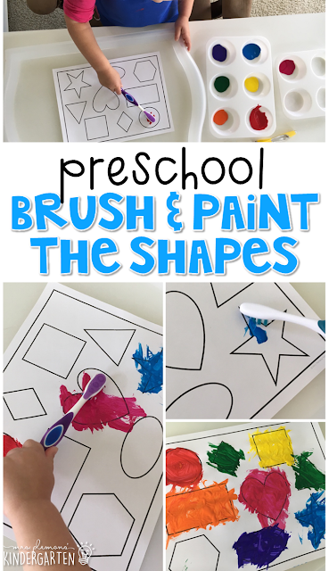 This brush & paint the shapes activity incorporates shape identification, listening, and fine motor skills practice. Great for tot school, preschool, or even kindergarten!
