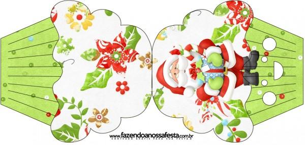 Tarjeta con forma de cupcake deSanta en Fondo Verde.