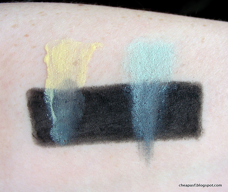 Swatches of Urban Decay Naked Skin Color Correcting Fluid in Yellow and NYX Incredible Waterproof Concealer in Green