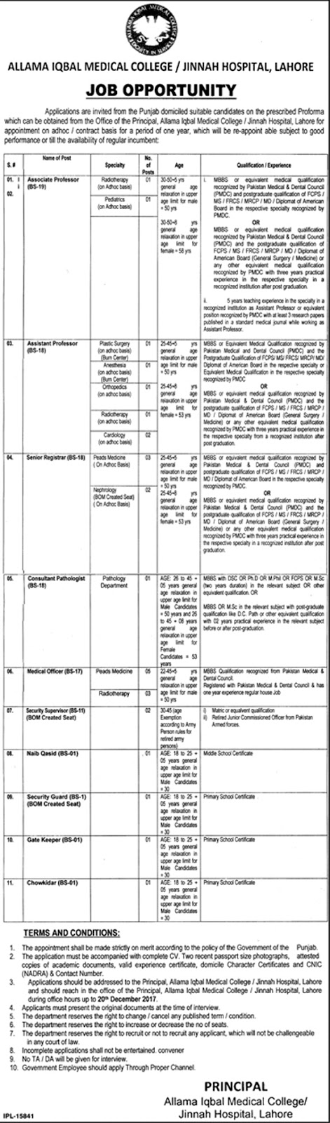 Jobs In Allama Iqbal Medical College Jinnah Hospital  Lahore Dec 2017