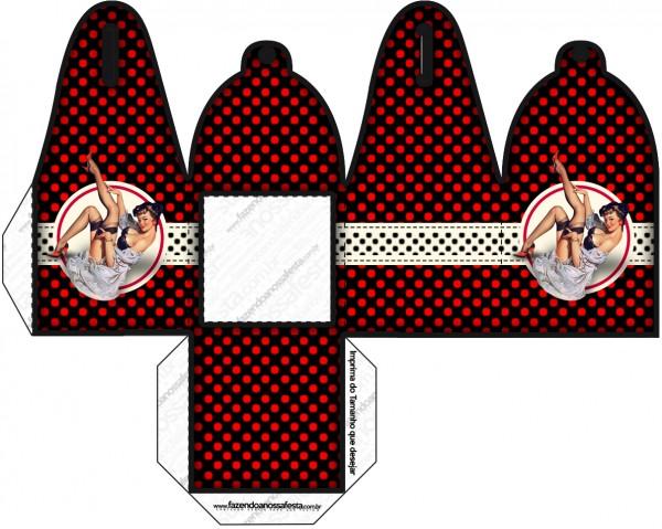 Caja para cupcakes, chocoltes o golosinas de  Pin Up en Negro con Lunares Rojos.