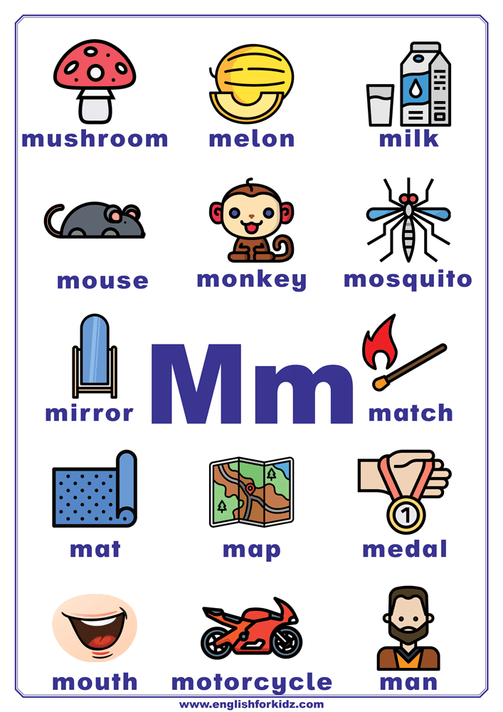 Letter M Worksheets Flash Cards Coloring Pages