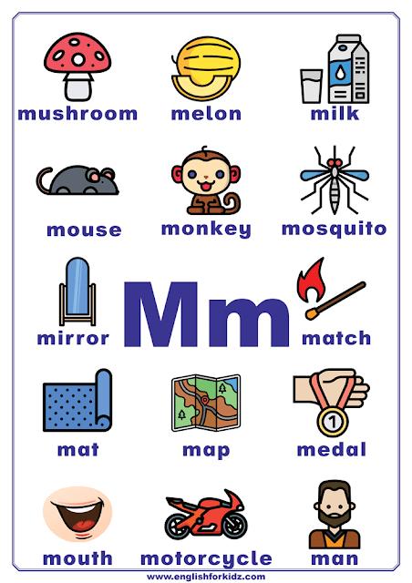 English alphabet poster - letter M