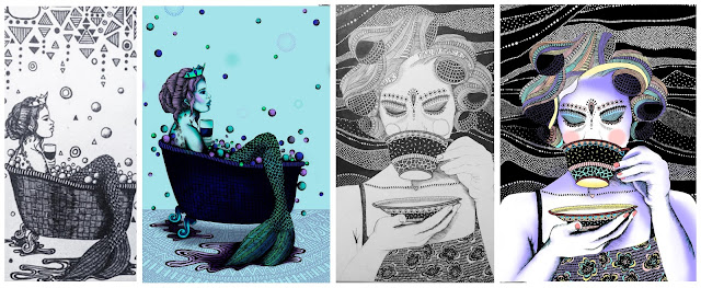 Textile candy, www.textilecandy.com, textile candy blog, zentangle illustrations, girl drinking coffee, tea girl, mermaid in bath, mermaid illustration, mermaid tattoo, mermaid artwork