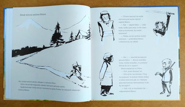 Strony z ilustracjami wykonanymi tuszem
