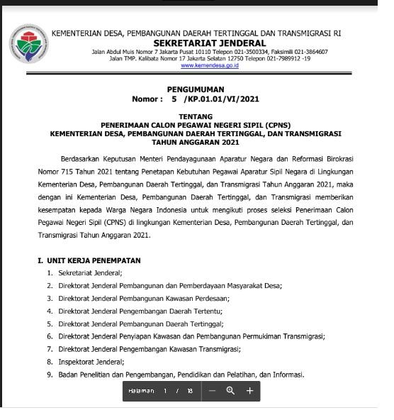 Penerimaan CPNS Kementerian Desa, Pembangunan Daerah Tertinggal, dan Transmigrasi Tahun Anggaran 2021