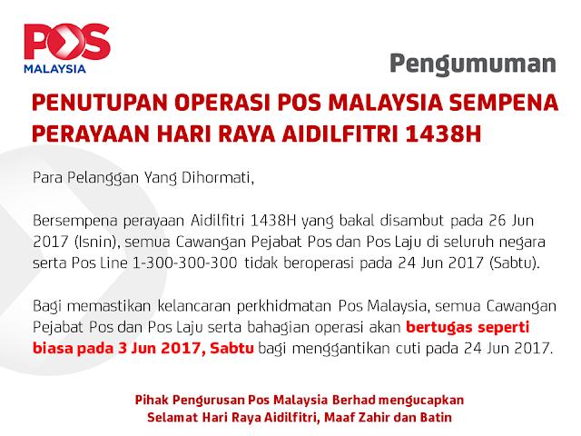 Pejabat Pos Malaysia Tutup Sempena Aidilfitri 2017