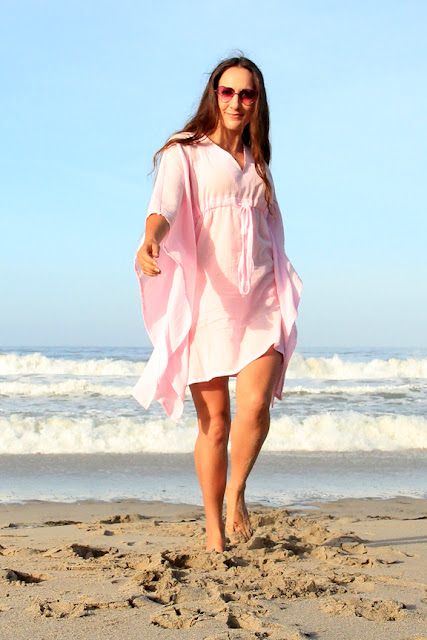 Pink Mini Cotton Gauze Caftan by Mademoiselle Mermaid
