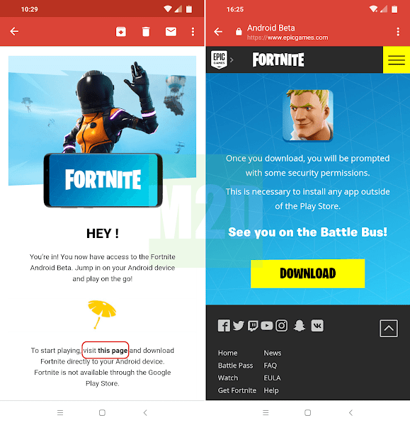 Email invite download Fortnite installer APK Android