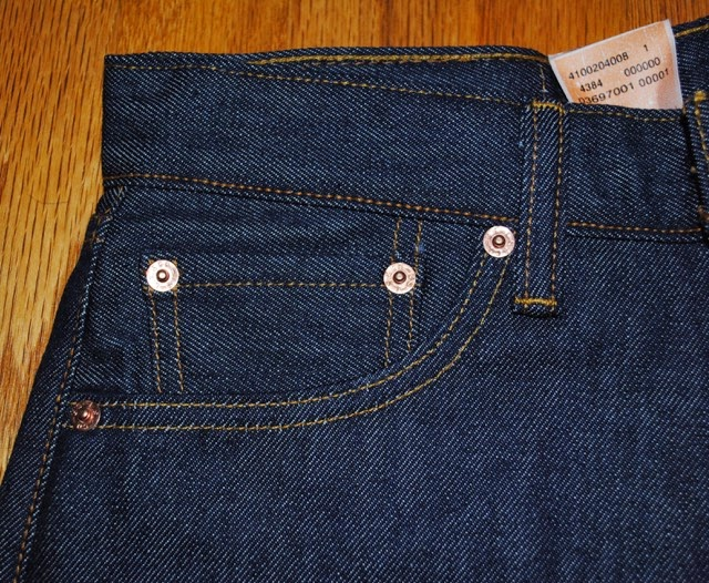 Levis 501STF Front Right Pocket reinforced by copper rivet