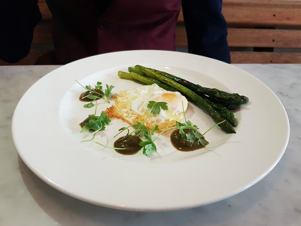 Pheasant egg. Asparagus - Bourne and Hollingsworth