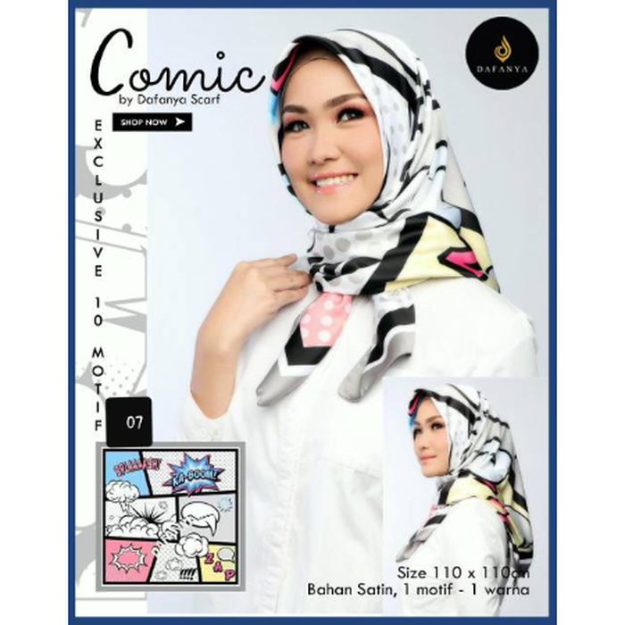 Jilbab SEGI EMPAT COMIC By Dafanya Hijab Model Terbaru