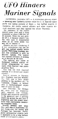 UFO Hinders Mariner Signals - Atlantic City Press 7-16-1965