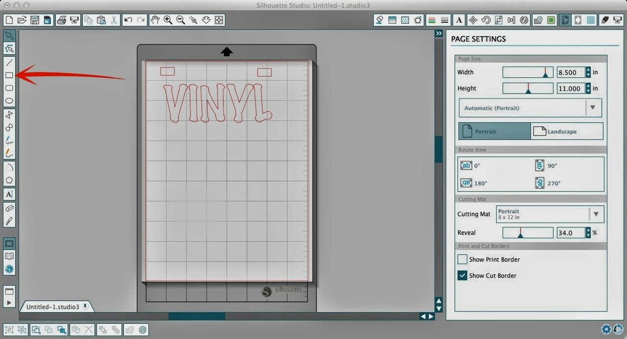 Layering, vinyl, Silhouette tutorial, Silhouette Studio, draw a rectangle