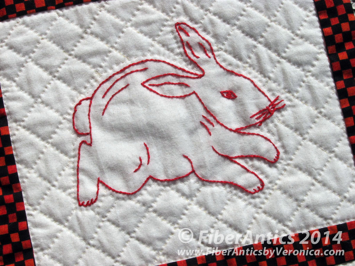 Hand embroidered redwork rabbit penny square