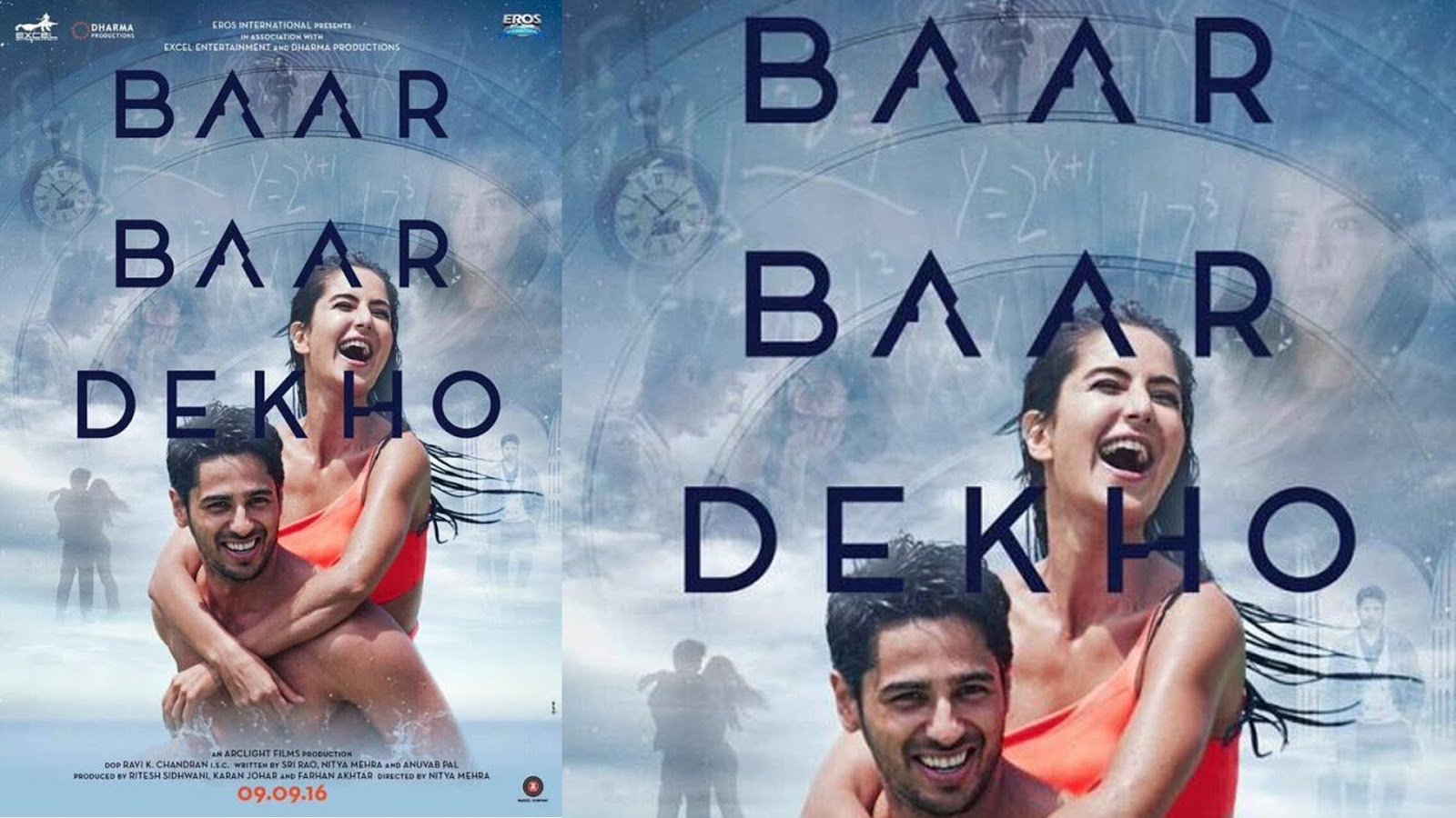 Complete cast and crew of Baar Baar Dekho  (2016) bollywood hindi movie wiki, poster, Trailer, music list - Sidharth Malhotra and Katrina Kaif, Movie release date 9 September, 2016