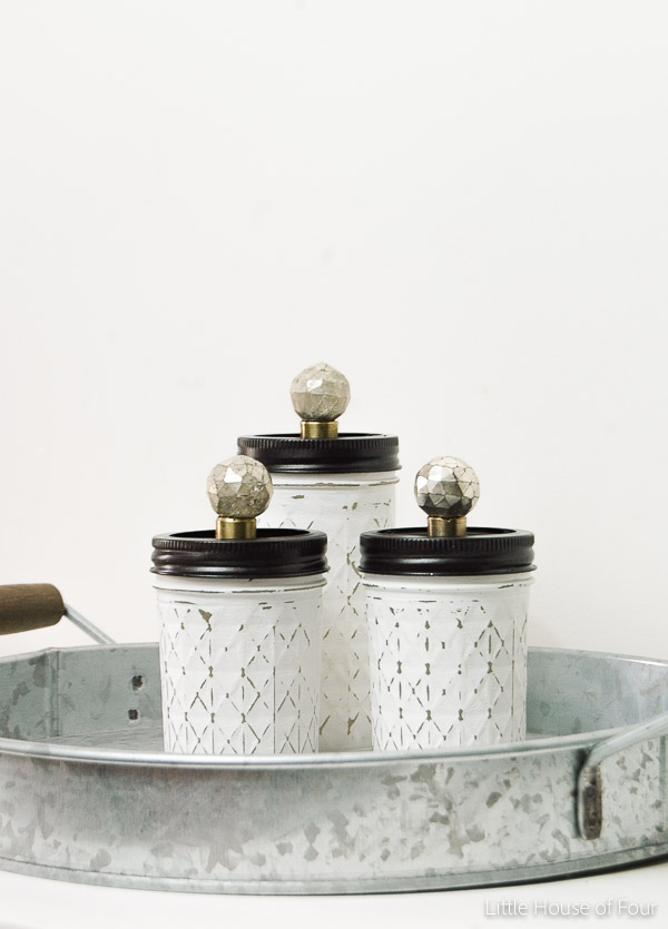Distressed mason jar storage