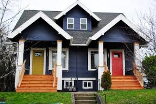 contoh warna cat rumah biru bagian depan